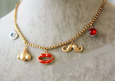 TOPSHOP Gold Look Face Charm Eyeball Lips Mustache Ruby Stud Nose Necklace
