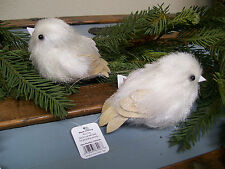 "SET 2  RAZ Imports 5"" Sparkle Glitter Feather WHITE BIRD Christmas Ornaments"