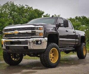 Paintable 2015-2019 Chevy Silverado 2500 3500 Extended Fender Flares Smooth Set