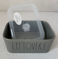 """Rae Dunn (Gray) """"LEFTOVERS"""" Ceramic Meal container w Removable Lid --Brand New!"""