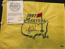Tiger Woods 1st Major Championship signed 1997 Rare Masters pin flag