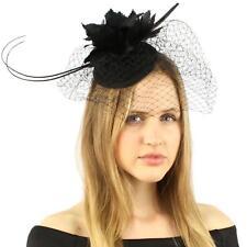 23e34d11744 Fancy Quill Swirl Wool Veil Feathers Headband Fascinator Cocktail Hat Cap  Black