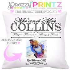 Photo Cushion Wedding Anniversary Gift Valentines Christmas Mr & Personalised