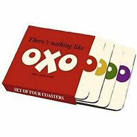 NEW OFFICIAL OXO COFFEE MUG CUP COASTERS SET OF 4 PRESENTATION CASE GIFT
