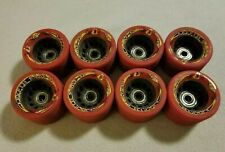 Lot 8 Vintage Krypto Rage XT Skate Wheels Red 62 mm 80's Used Roller Derby Out
