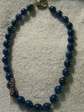 womans beautiful necklace blue lapis each bead is knotted and a great clasp not