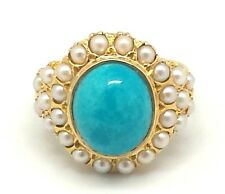 Turchese SEME perle anello tg 54 ARGENTO 925 argento sterling ANTICO STILE