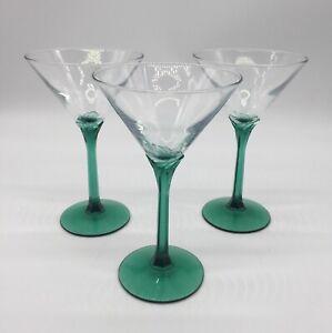 Vintage Teal Green/ Green Stem Martini Glasses Set Of Three