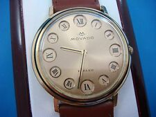 RARE, 18K GOLD VINTAGE MOVADO WATCH WITH MANUAL WINDING MOVEMENT.