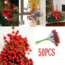 50Pcs Artificial Red Holly Berry Christmas Decor On Wire Bundle Garland Wreath