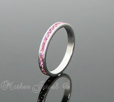 BABY PINK CZ GIRLS LADIES WEDDING ETERNITY STERLING SILVER PLATED BAND RING