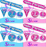 New Adult Kids Birthday Party Pink or Blue Holographic Badges, Banner, Balloon