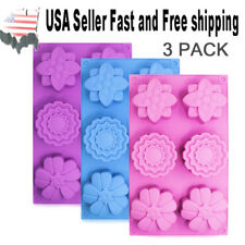 3 PACK Flower Shaped Silicone DIY Handmade Soap Mold Muffin Cup Cake ~US Seller