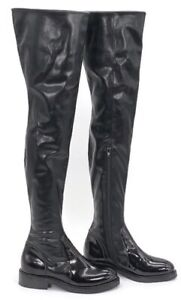 NEW $230 JEFFREY CAMPBELL  Boots Black Thigh-High Boots Vegan Leather  7.5