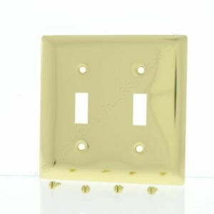 P&S Polished Solid Brass 2-Gang Toggle Switch Cover Wallplate SB2-PBCC10