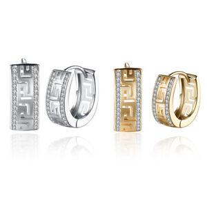 18k Yellow Gold / Silver Tone Greek Key Women's Hoop Huggie Earrings