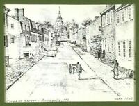 John Moll Sketch Print Wall Art Cornhill Street View Cars Annapolis Maryland MD