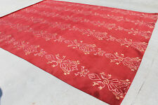 R04 Gorgeous Hot Red Colored Wool/Silk Tibetan Area Rug 9' x 12' Made in Nepal