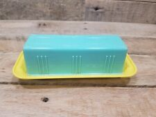 Very Nice Yellow and Blue Vintage Two Tone Pastel Butter Dish