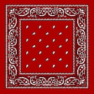 BANDANNA RED  PAISLEY 54X54 CM COTTON