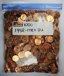1958-1983 Bag of 1000 Pennies U.S / United States Wheat & Memorial - BU Unc