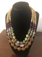 Gorgeous Vintage Multi Color Triple Strand Glass Beaded Statement Necklace