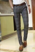 1 Mens cotton blend Plaid Slim Fit pencil Pants Casual dress Skinny Trousers