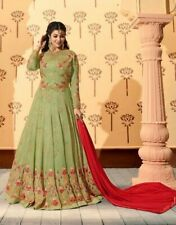 Pastel Green Designer Embroidered Anarkali Salwar in Georgette. Size 38. New.