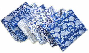 Set 24Pcs Indian Hand Block 100%Cotton Print Voile Fabric Napkins Assort. Floral