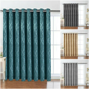 Thick Thermal Blackout Door Curtain Single Panel Eyelet Ring Top & Free Tieback