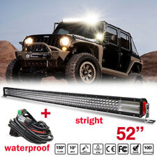 10D 52Inch Quad-Row 3000W LED Work Light Bar Car Driving lamp + Wiring Harness