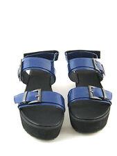 ASOS NEW Blue Patent Leather Platform Sandal Size 9