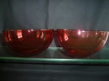 Pair of Victorian Cranberry Glass Finger Bowls