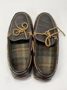 LL Bean Handsewn Mens Leather Flannel Lined Moccasin Slippers Brown Sz 7M