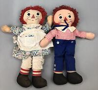 VTG Set of 2 Raggedy Ann & Andy Knickerbocker Cloth Stuffed Dolls 1970's #1 AA
