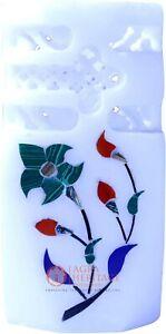"4"" White Handmade Pen Organizer Holder Malachite Floral Interior Christmas Gift"