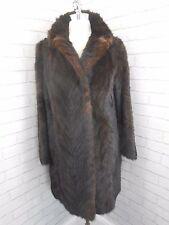 Vintage 1950s Ladies French Mahogany Brown Mink Real Fur 3/4 Length Coat 12-16