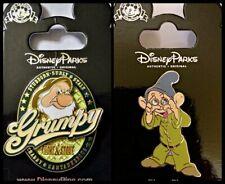Disney Parks 2 Pin Lot Snow White Dwarfs GRUMPY shield + DOPEY gem eyes