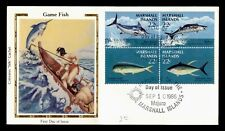 DR WHO 1986 MARSHALL ISLANDS GAME FISH BLOCK FDC COLORANO C173193