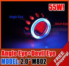 "AC/55W 2.0"" Car Motorcycle Headlights HID BI-XENON Projector Angel Eye Devil Eye"