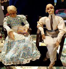 2 Antique Early 20thC Folk Art Handmade Elderly Couple Wax Dolls