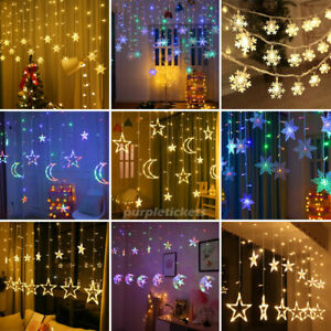 Twinkling Star Moon LED String Curtain Lights Snowflake Fairy Lights Xmas Party