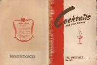 Vintage THE ROOSEVELT Restaurant Menu New York 1940's