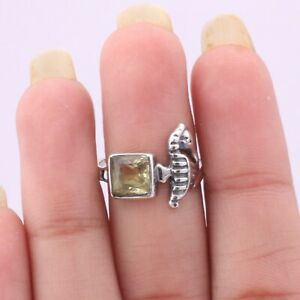 Citrine Gemstone Sea Horse Ring Size 6 Sterling Silver Jewelry For Women KB05550