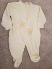 baby sleep suit yellow teddy bears unisex velour vintage style 3-6 months