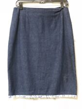 Bloomingdales Fall Dark Denim Pencil Skirt With Blue Floral Ruffle Sz 10 M