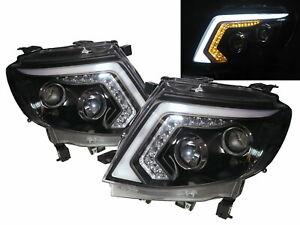 Ranger T6 2012-2015 Pickup 2D LED Bar Projector Headlight Black for FORD LHD