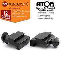 2 x Weaver to dovetail adapter mounts / 20mm - 11mm for rifles or airsoft rails