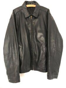 Mens Vintage Black Leather Jacket L Harrington Biker Bomber Flight Coat