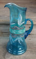 VTG RARE Vintage Blue ENAMELED TANKARD Lilly o the Valley Fenton Carnival Glass